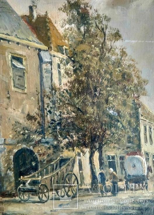 Неопознанный художник. Городской пейзаж. Начало 20 века, фото №3