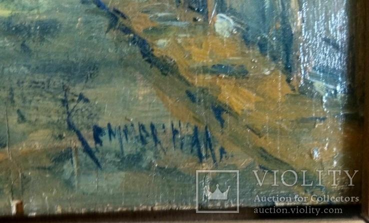 Неопознанный художник. Городской пейзаж. Начало 20 века, фото №7