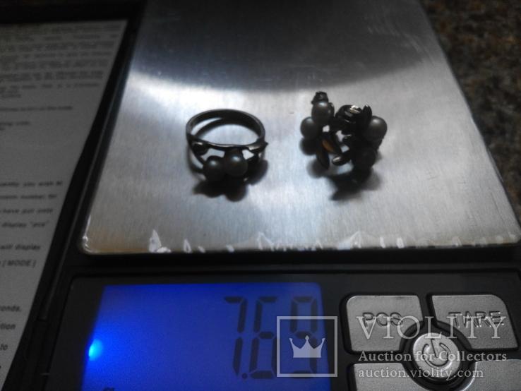 Серебряный комплект с жемчугом кольцо серьги, фото №4