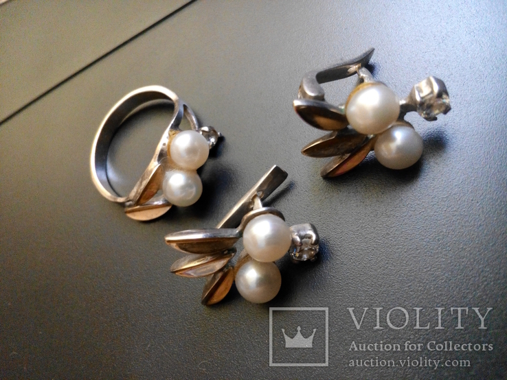 Серебряный комплект с жемчугом кольцо серьги, фото №7