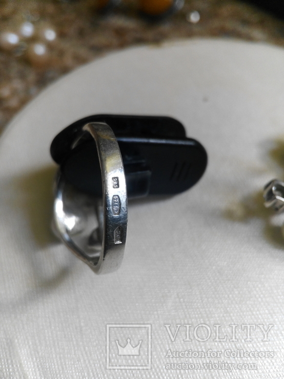 Серебряный комплект с жемчугом кольцо серьги, фото №10