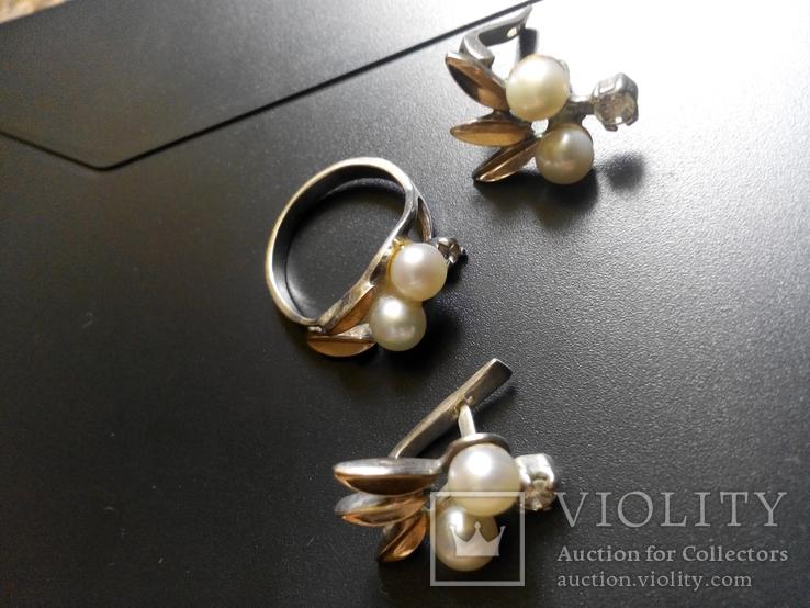 Серебряный комплект с жемчугом кольцо серьги, фото №12