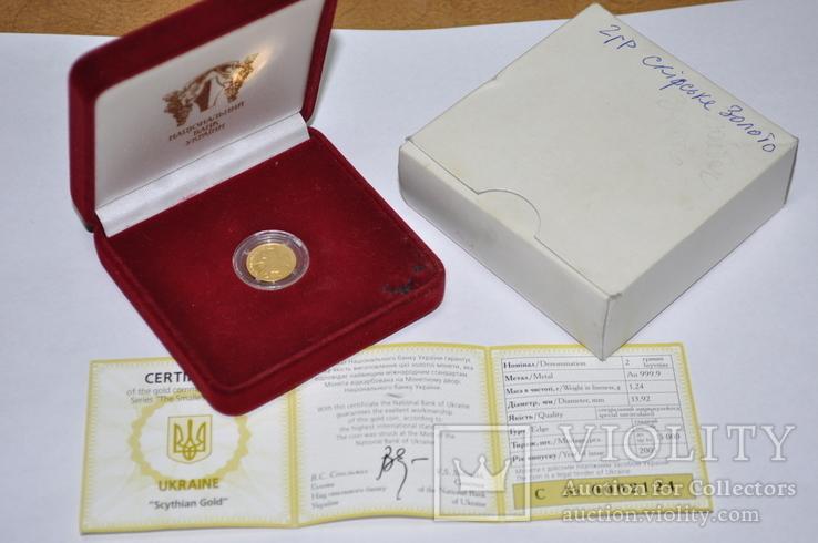 Золотая монета 2 гривны Скифское золото., фото №2