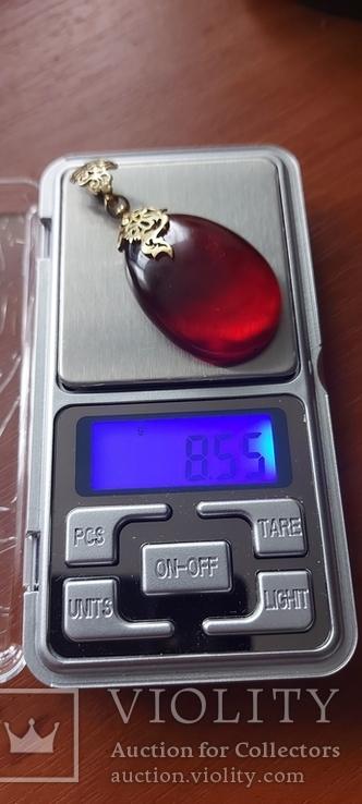 Подвеска серебро 925 позолота янтар, фото №13