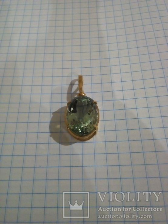 Золотой кулон с аметистом 585, фото №2