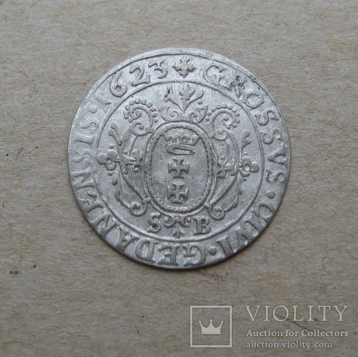 Гданьский грош 1623 года. SB под гербом. Сиг. ІІІ Ваза., фото №10