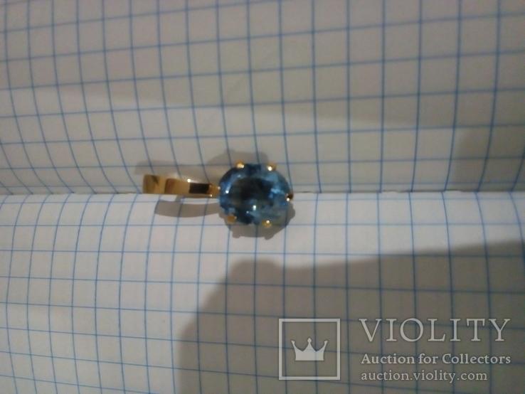 Золотой кулон с голубым топазом, фото №2