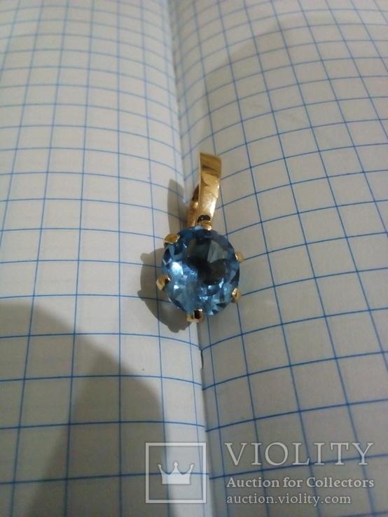 Золотой кулон с голубым топазом, фото №3