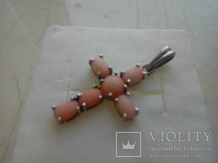 Підвіс срібний з коралом, фото №2