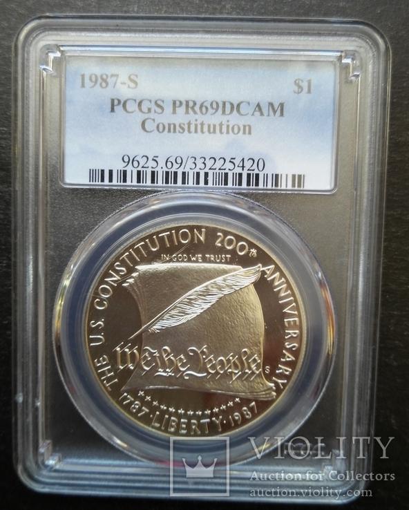 "Доллар США 1987 год ""200 лет конституции"" слаб PCGS ""PR-69"", фото №2"