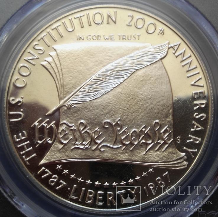 "Доллар США 1987 год ""200 лет конституции"" слаб PCGS ""PR-69"", фото №4"