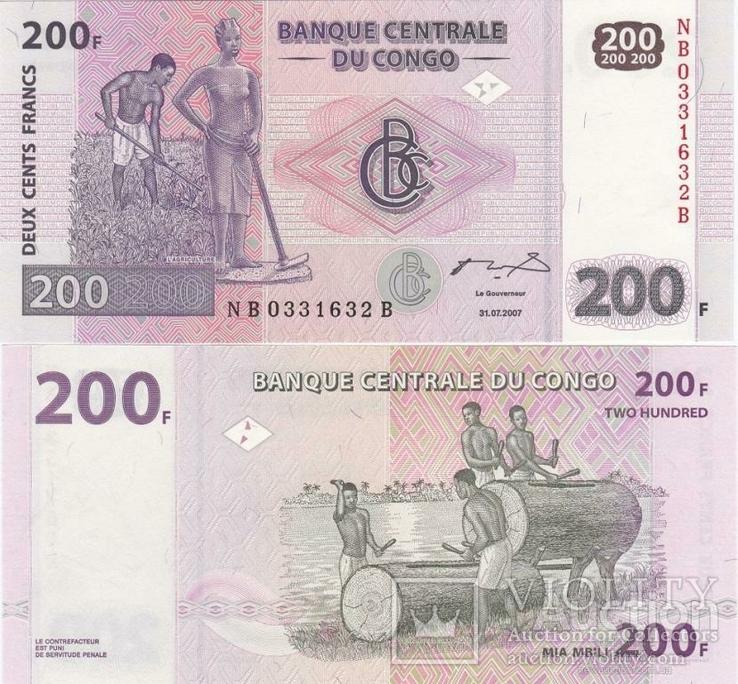 Congo Конго - 200 Francs 2007 UNC Pick 99a