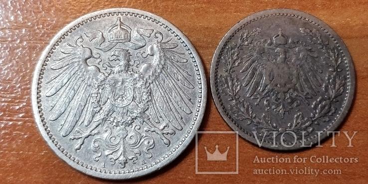 Лот монет Германии 1 марка 1915 г. и пол-марки 1906 г., фото №3