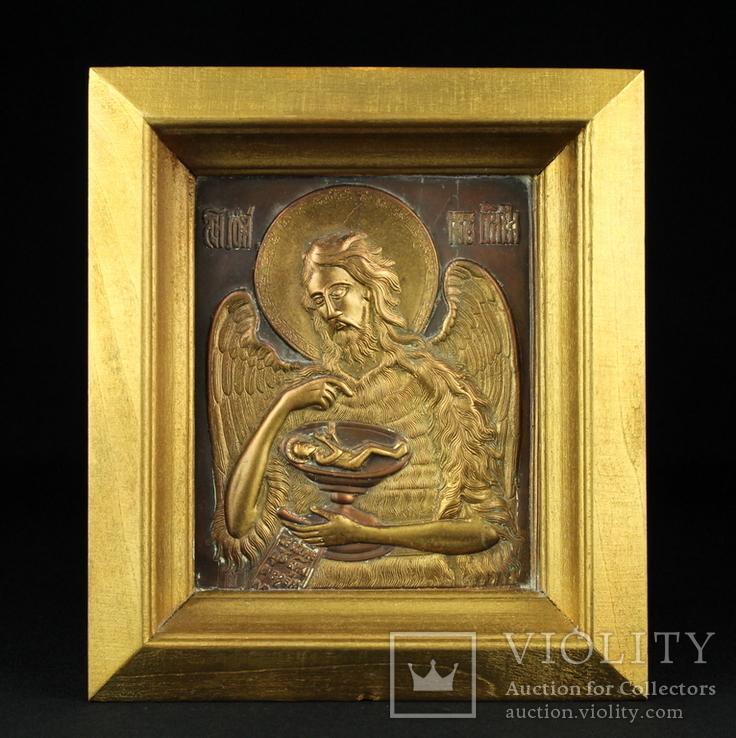 Икона. Образ. Деисус. Чеканка в деревянной раме 175х153 мм., фото №2