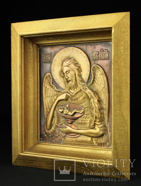 Икона. Образ. Деисус. Чеканка в деревянной раме 175х153 мм., фото №4