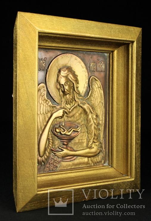 Икона. Образ. Деисус. Чеканка в деревянной раме 175х153 мм., фото №6