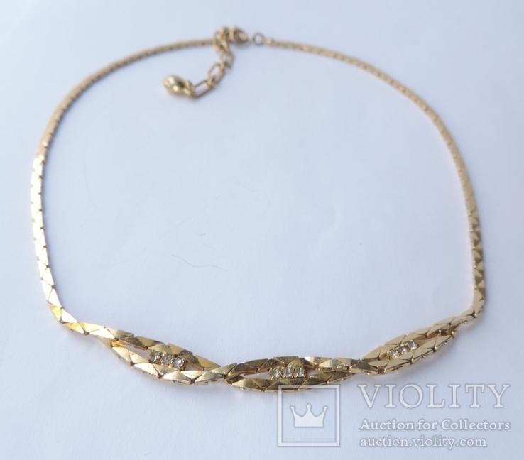 Колье-цепочка золотого цвета с белыми кристаллами. США. 60-е гг., фото №6