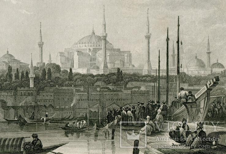 Старинная гравюра. Константинополь. Собор Святой Софии. 26х18см, фото №2
