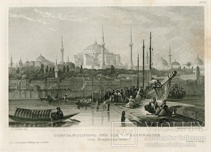 Старинная гравюра. Константинополь. Собор Святой Софии. 26х18см, фото №3