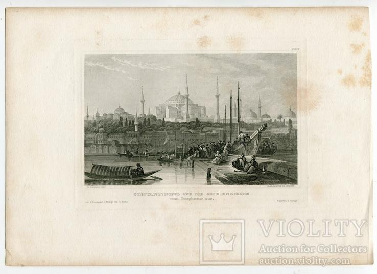 Старинная гравюра. Константинополь. Собор Святой Софии. 26х18см, фото №4