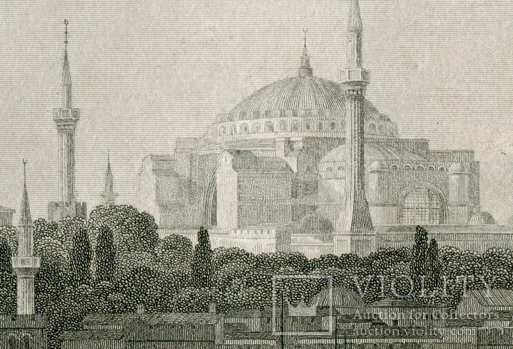 Старинная гравюра. Константинополь. Собор Святой Софии. 26х18см, фото №5