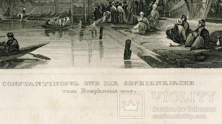 Старинная гравюра. Константинополь. Собор Святой Софии. 26х18см, фото №7