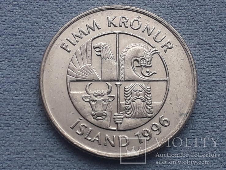 Исландия 5 крон 1996 года, фото №3
