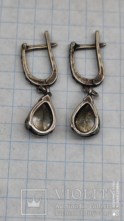 Серьги с камнями серебро, фото №3
