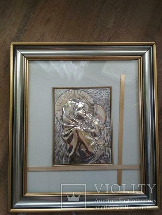 Картина мадонна. Серебро 925 пр., фото №5