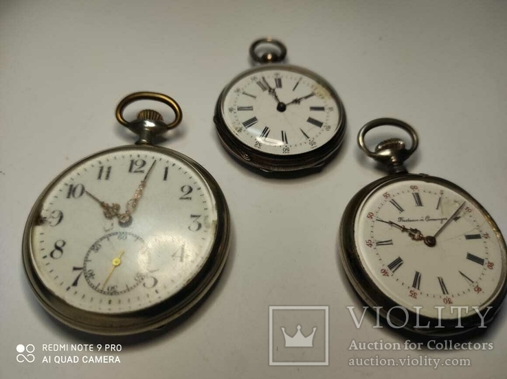 Лот карманных часов,серебро,метал, фото №2