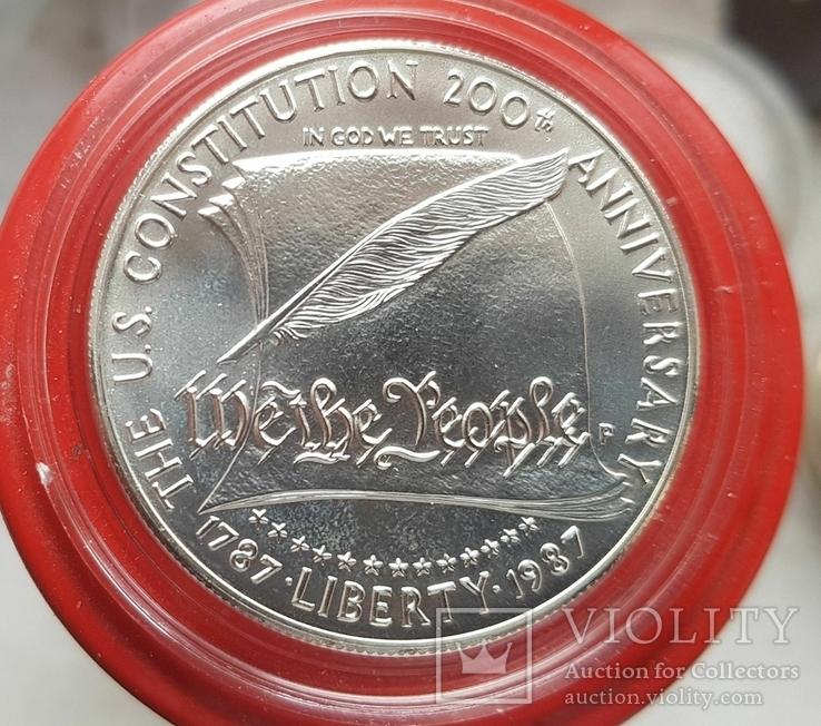 США 1 доллар 1987 г. Серебро. 200-летие конституции США., фото №2