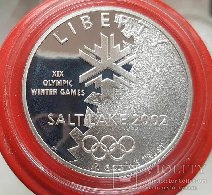 США 1 доллар 2002 г. XIX Зимние Олимпийские игры в Солт-Лейк-Сити. Серебро. ПРУФ, фото №2