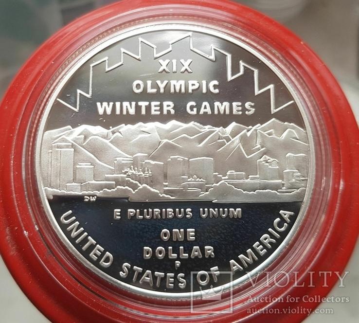 США 1 доллар 2002 г. XIX Зимние Олимпийские игры в Солт-Лейк-Сити. Серебро. ПРУФ, фото №3