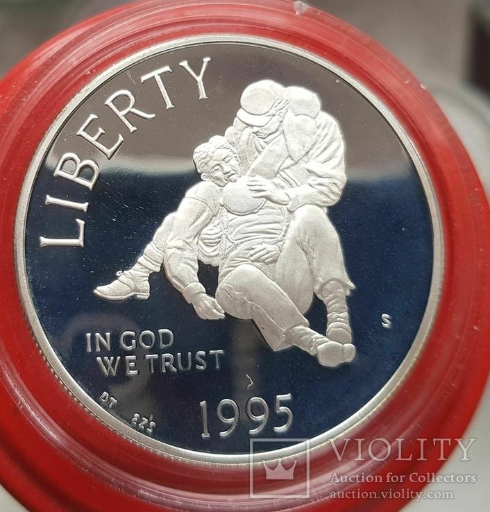 США 1 доллар 1996 г XXVI Летние Олимпийские игры 1996 года в Атланте. Прыжки. ПруФ, фото №2