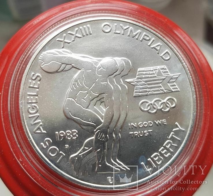 США 1 доллар 1983 г. XXIII Летние Олимпийские игры 1984 года в Лос-Анжелесе. Серебро, фото №2