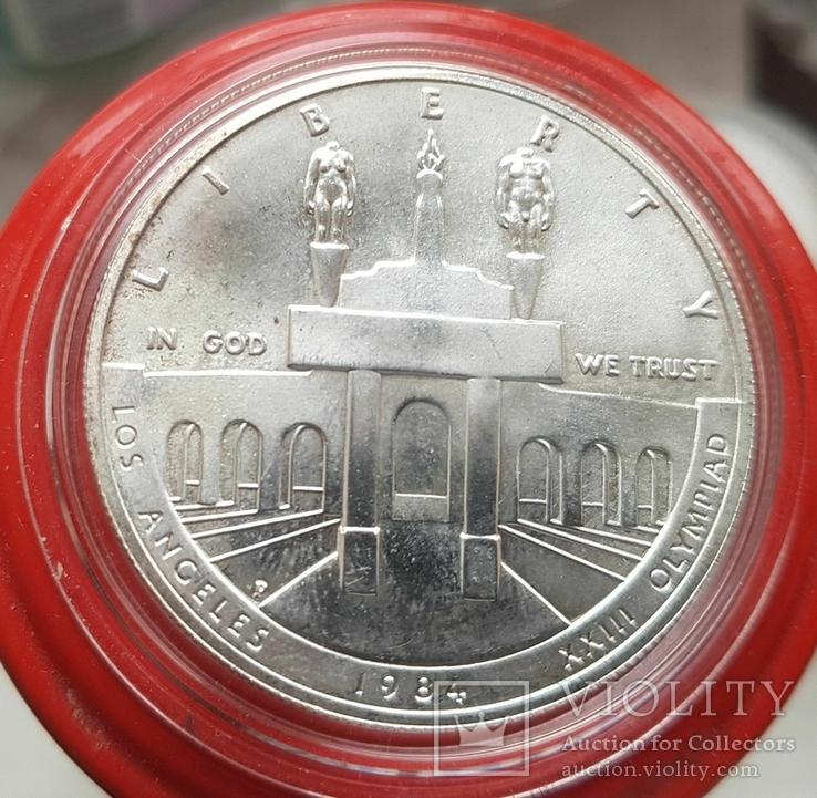 США 1 доллар 1984 г. XXIII Летние Олимпийские игры 1984 года в Лос-Анжелесе. Серебро, фото №2