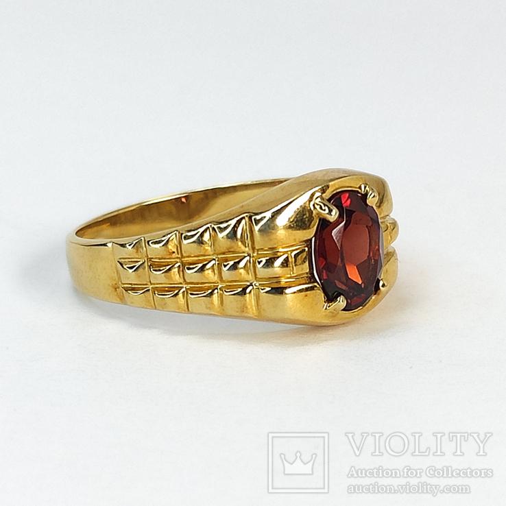 Винтажный золотой перстень с натуральным гранатом, фото №3