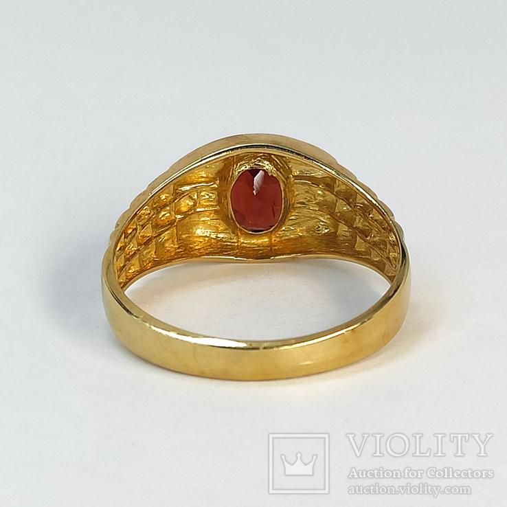Винтажный золотой перстень с натуральным гранатом, фото №6