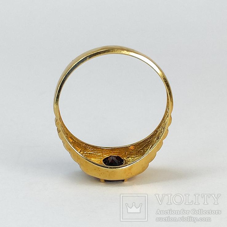 Винтажный золотой перстень с натуральным гранатом, фото №8