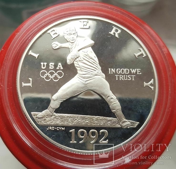 США 1 доллар 1992 г. . Бейсбол. XXV Летние Олимпийские игры 1992 года в Барселоне. Пруф, фото №2