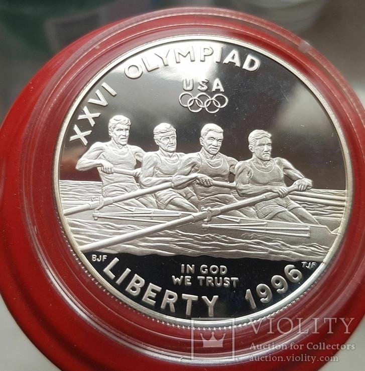 США 1 доллар 1996 г  XXVI Летние Олимпийские игры 1996 года в Атланте. Гребля. ПруФ, фото №2