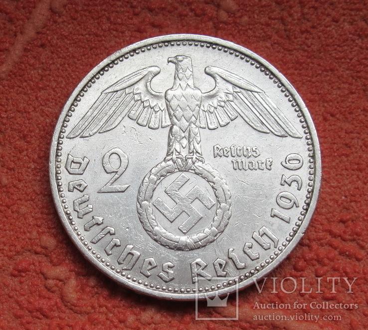 2 марки 1936 г. (G) Третий рейх, серебро, Редкая, фото №2