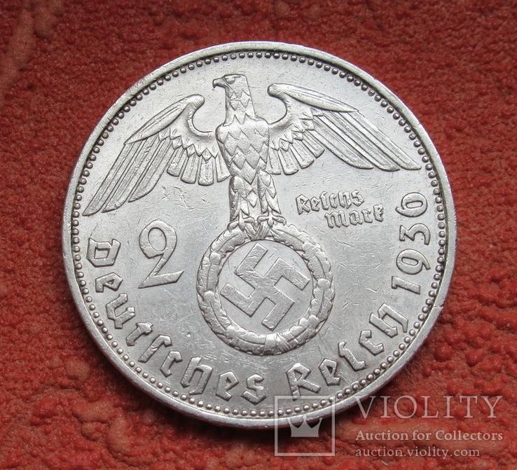 2 марки 1936 г. (G) Третий рейх, серебро, Редкая, фото №3