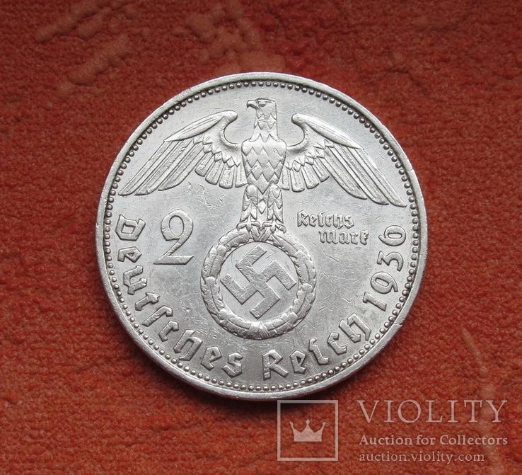 2 марки 1936 г. (G) Третий рейх, серебро, Редкая, фото №4