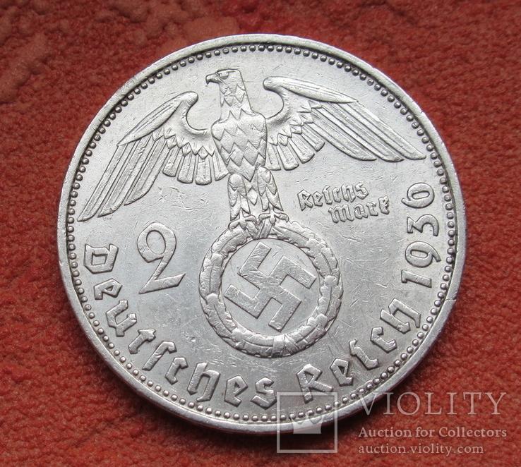 2 марки 1936 г. (G) Третий рейх, серебро, Редкая, фото №7