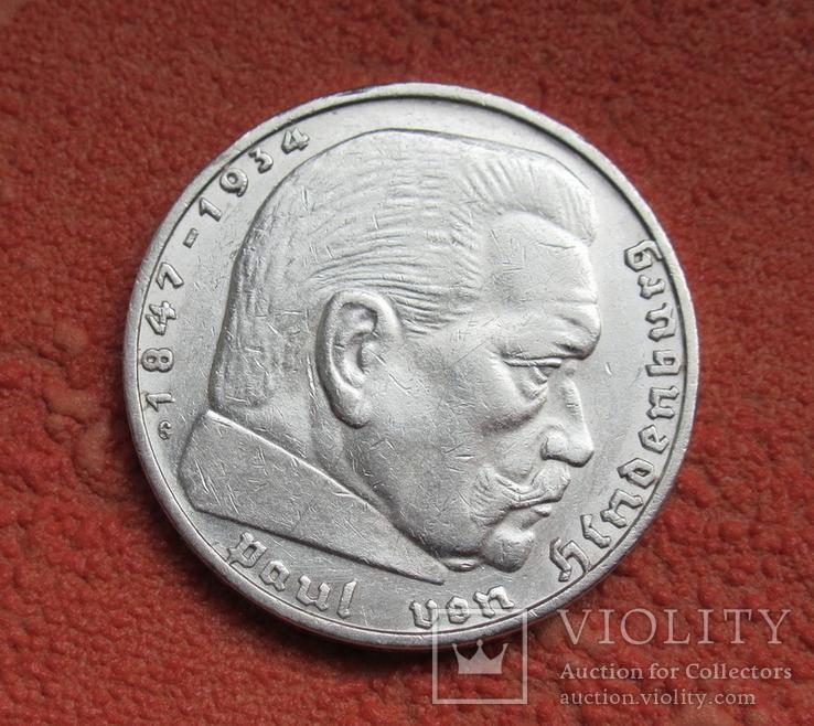 2 марки 1936 г. (G) Третий рейх, серебро, Редкая, фото №10
