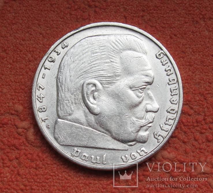 2 марки 1936 г. (G) Третий рейх, серебро, Редкая, фото №11