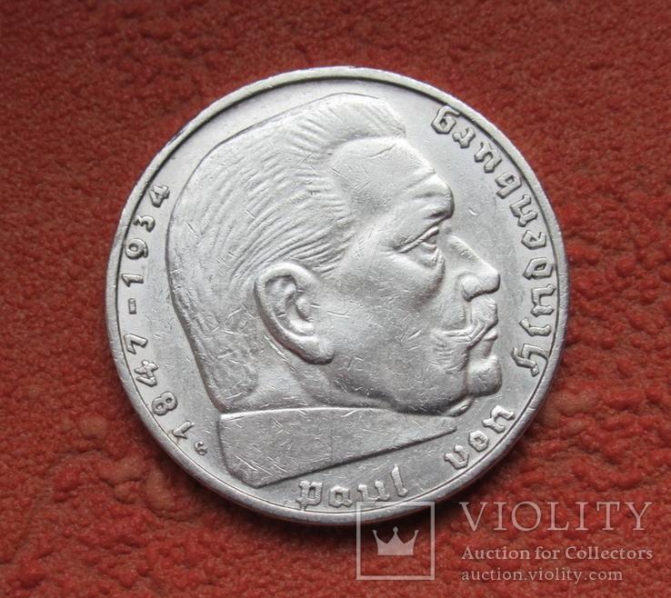 2 марки 1936 г. (G) Третий рейх, серебро, Редкая, фото №12