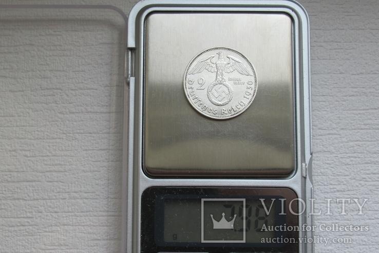 2 марки 1936 г. (G) Третий рейх, серебро, Редкая, фото №13
