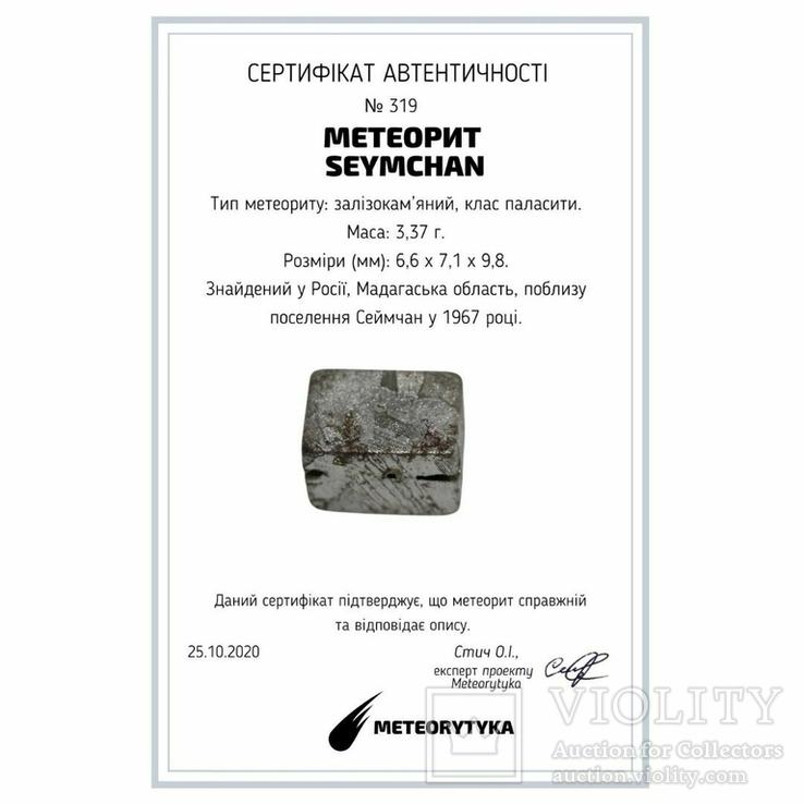 Заготовка-вставка з метеорита Seymchan, 3,37 г, із сертифікатом автентичності, фото №3